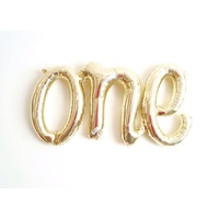 One Script Shaped White Gold Foil Balloon