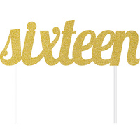 Sixteen Party Supplies Gold Sixteen Glitter Cake Topper Decoration