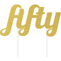 50th Party Supplies Gold Fifty Glitter Cake Topper