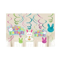 Easter Party Supplies Happy Easter Bunny Hanging Swirls 12 Pack