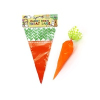 Easter Carrots Shaped Loot Bags Cello with Twist Ties