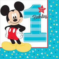 Mickey's 1st Birthday Lunch Napkins 16 Pack
