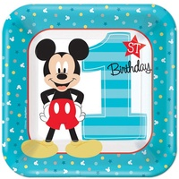 Mickey's 1st Birthday Lunch Desert Cake Plates Pack of 8