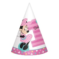 Minnie Mouse 1st Birthday Party Hats 8 Pack