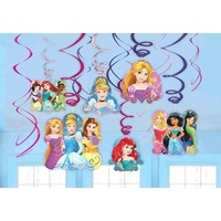 Disney Princess Party Supplies Dream Big - Hanging Swirl Decorations 12 Pack