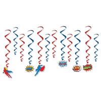 Superhero Slogans Whirls Hanging Decorations 12 Pack