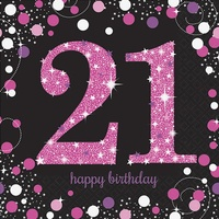 21st Birthday Party Supplies Sparkling Pink Lunch Napkins 16 pack