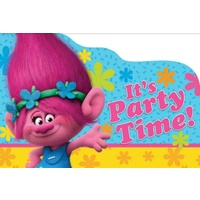 Trolls Party Supplies - Invites 8 Pack