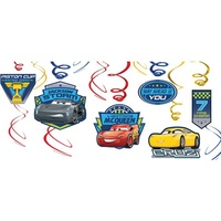 Disney Cars 3 Party Supplies Hanging Swirl Decorations 12 Pack
