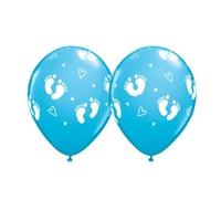 Baby Shower Party Supplies - Footprint Blue Balloon 1 x 28cm