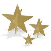 Hollywood Party Supplies Gold 3-D Foil Star Centrepieces 3 pack