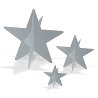 Hollywood Party Supplies - Silver 3-D Foil Star Centerpieces 3 pack