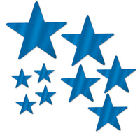 Hollywood Party Supplies Blue Foil Star Cutouts 9 pack