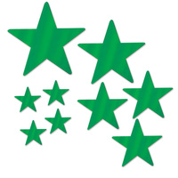 Hollywood Party Supplies Green Foil Star Cutouts 9 pack