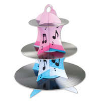 Rock & Roll Party Supplies Record Cupcake 3 Tier Stand