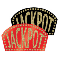Casino Party Supplies - Glittered Jackpot Sign Cutouts Red or Black