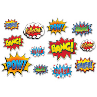 Superhero Slogans Party Supplies Action Sign Cutouts 12 pack