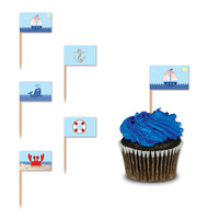 Nautical Party Supplies - Cupcake Food Picks 50 pack