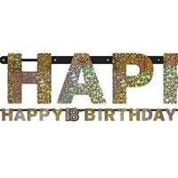 18th Birthday Party Supplies - Sparkling Black Happy Birthday Banner