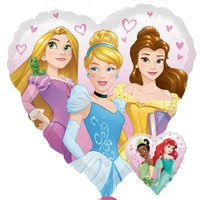 Disney Princess Dream Big Party Supplies - Heart Shaped 2 sided Foil Balloon
