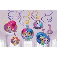 Shimmer and Shine Party Supplies - Hanging  Swirl Decorations