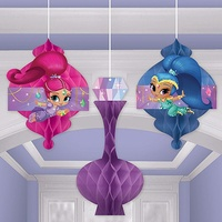 Shimmer and Shine Party Supplies Honeycomb Hanging Decorations 3 pack