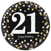 21st Birthday Party Supplies - Sparkling Black  Dinner Plates 8 Pack