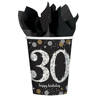 30th Birthday Party Supplies  - Sparkling Black Cups 8 Pack