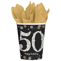 50th Birthday Party Supplies Sparkling Black Cups 8 Pack