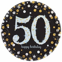 50th Birthday Party Supplies Sparkling Black Dinner Plates 8 Pack
