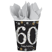 60th Birthday Party Supplies  - Sparkling Black Cups 8 Pack