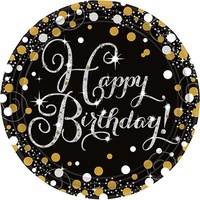 Birthday Party Supplies Sparkling Black Happy Birthday Dinner Plates 8 Pack