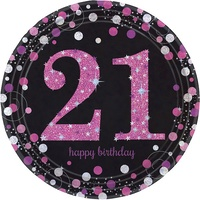 21st Birthday Party Supplies Sparkling Pink Dinner Plates 8 Pack