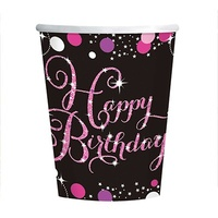 Birthday Party Supplies  - Sparkling Pink Cups 8 Pack
