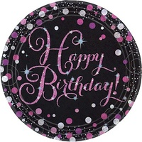 Birthday Party Supplies Sparkling Pink Happy Birthday Dinner Plates 8 Pack