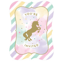 Unicorn Sparkle Party Supplies Invitations 8 Pack