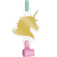 Unicorn Sparkle Party Supplies Blow Outs with medallions 8 pack