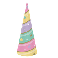 Unicorn Sparkle Party Supplies - Hats 8 Pack