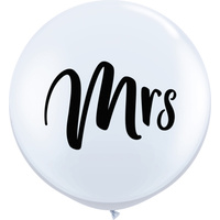 Wedding Party Supplies - Mrs White & Black Balloon 3 FOOT 90cm Approx!! GIANT BALLOON