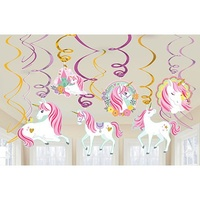 Magical Unicorn Party Supplies Magical Unicorn Hanging Swirl Decorations and Unicorn Shaped Cutouts 12 Pack