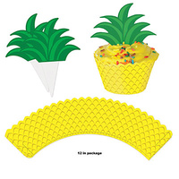 Hawaiian Luau Party Supplies Pineapple Cupcake Wrappers 12 pack
