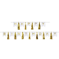 Birthday Party Supplies Happy Birthday Gold Tassel Streamer