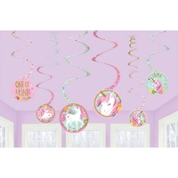 Unicorn Party Supplies Magical Unicorn Spiral Swirl Decorations 8 pack
