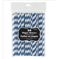 Bright Royal Blue Party Supplies Paper Straws 24 Pack