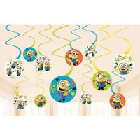 Despicable Me Minions Party Supplies Hanging Swirls Decorations Value 12 Pack
