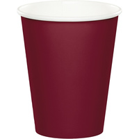 Burgundy Party Supplies Paper Cups X24 Pack