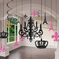 A Day in Paris Party Supplies Glitter Chandelier Decorating Kit 3D