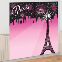 A Day in Paris Party Supplies Selfie Scene Setter - Wall Decoration