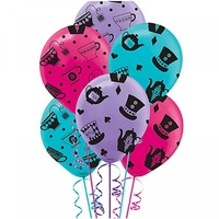 Alice In Wonderland Party Supplies - Mad Hatter Tea Party Latex Balloons  x 6 Pack