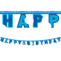 Shark Party Supplies Shark Splash Jointed Happy Birthday Banner